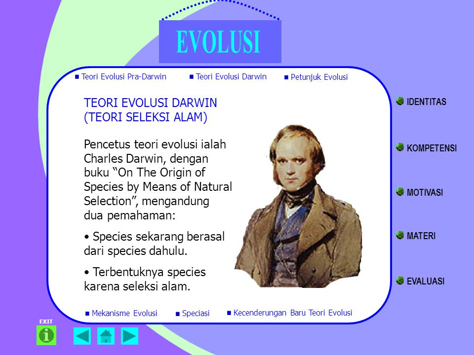 "TEORI EVOLUSI DARWIN (TEORI SELEKSI ALAM) Pencetus teori evolusi ialah Charles Darwin, dengan buku ""On The Origin of Species by Means of Natural Selec"