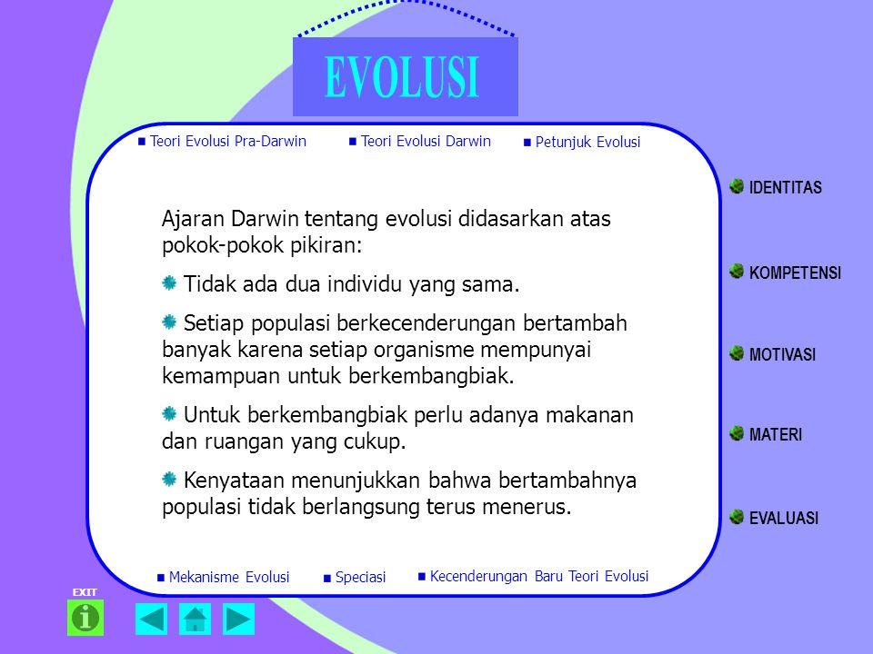 EXIT Ajaran Darwin tentang evolusi didasarkan atas pokok-pokok pikiran: Tidak ada dua individu yang sama. Setiap populasi berkecenderungan bertambah b