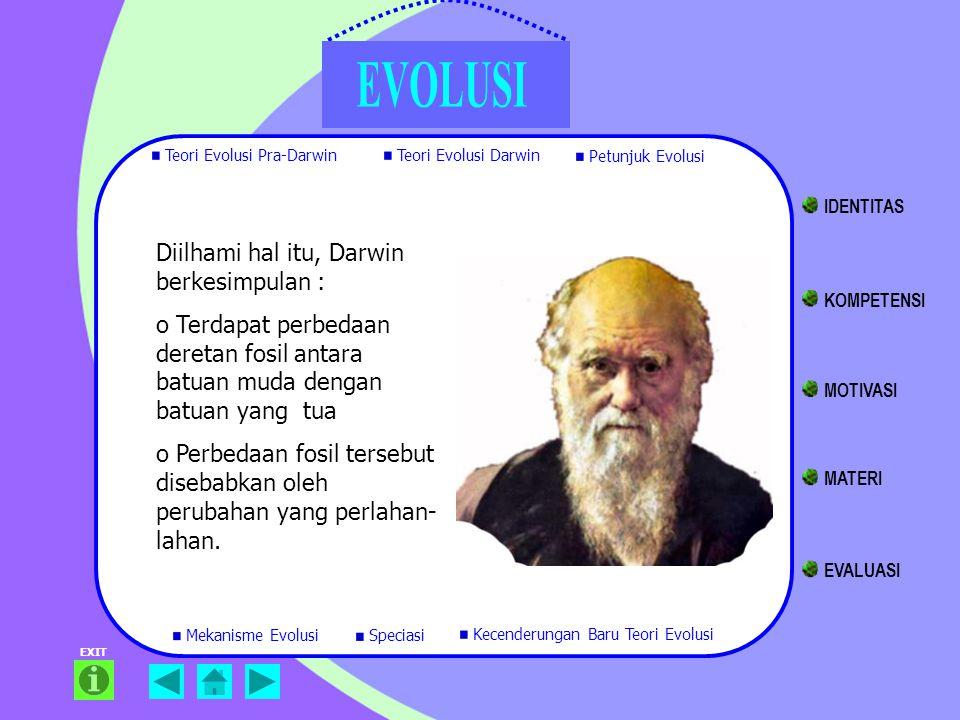 Diilhami hal itu, Darwin berkesimpulan : o Terdapat perbedaan deretan fosil antara batuan muda dengan batuan yang tua o Perbedaan fosil tersebut diseb