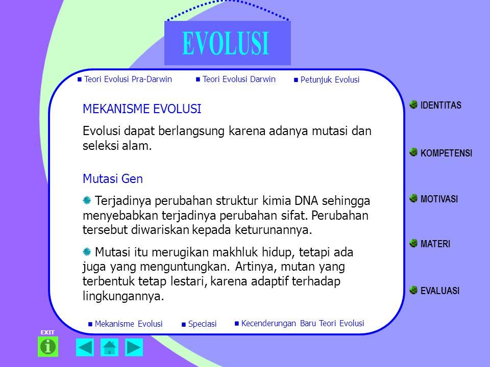 EXIT MEKANISME EVOLUSI Evolusi dapat berlangsung karena adanya mutasi dan seleksi alam. Mutasi Gen Terjadinya perubahan struktur kimia DNA sehingga me