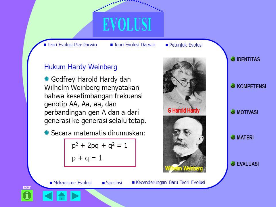 EXIT Hukum Hardy-Weinberg Godfrey Harold Hardy dan Wilhelm Weinberg menyatakan bahwa kesetimbangan frekuensi genotip AA, Aa, aa, dan perbandingan gen