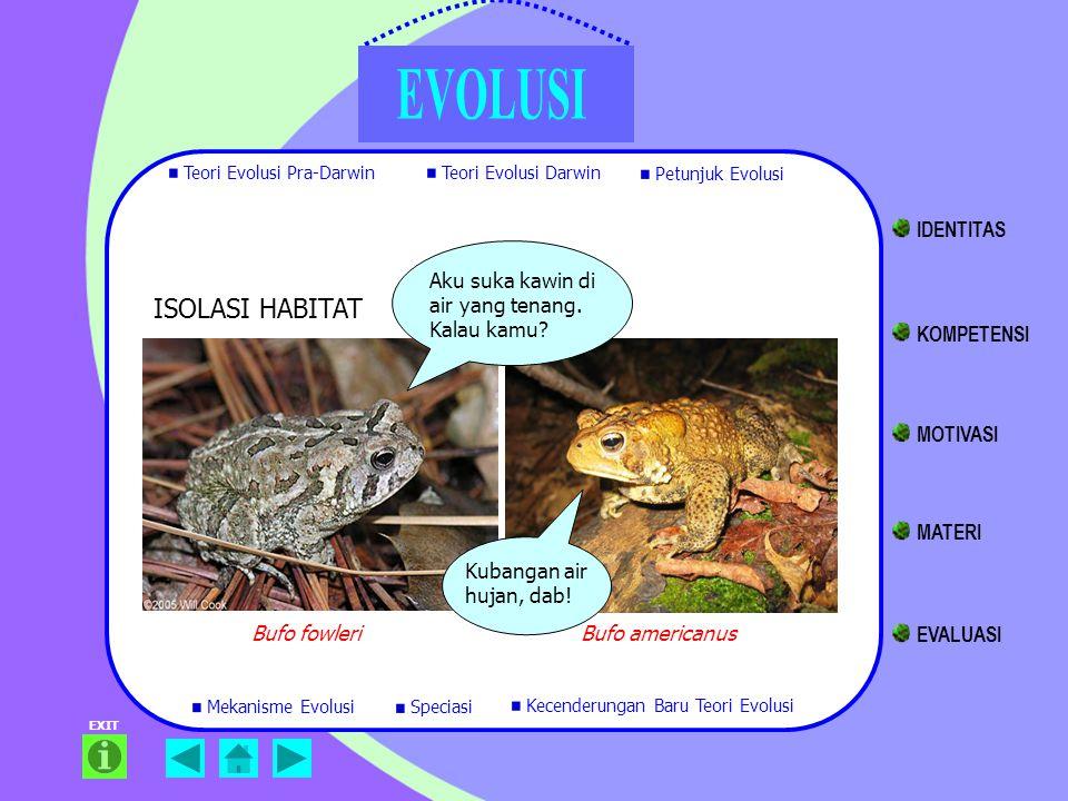 EXIT Bufo fowleriBufo americanus ISOLASI HABITAT Aku suka kawin di air yang tenang. Kalau kamu? Kubangan air hujan, dab! Teori Evolusi Pra-Darwin Teor