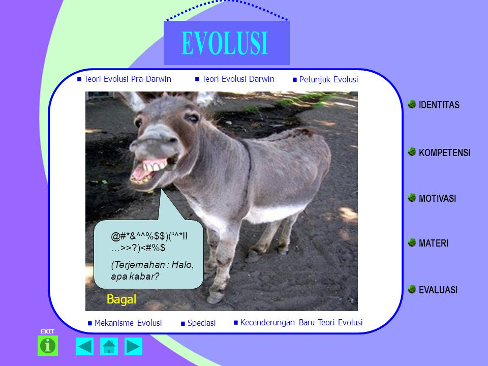 """EXIT Bagal @#*&^^%$$)(""""^*!! …>>?)<#%$ (Terjemahan : Halo, apa kabar? Teori Evolusi Pra-Darwin Teori Evolusi Darwin Petunjuk Evolusi Mekanisme Evolusi"""