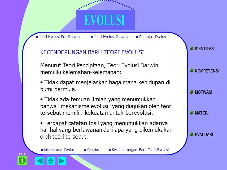 EXIT KECENDERUNGAN BARU TEORI EVOLUSI Menurut Teori Penciptaan, Teori Evolusi Darwin memiliki kelemahan-kelemahan: Tidak dapat menjelaskan bagaimana k