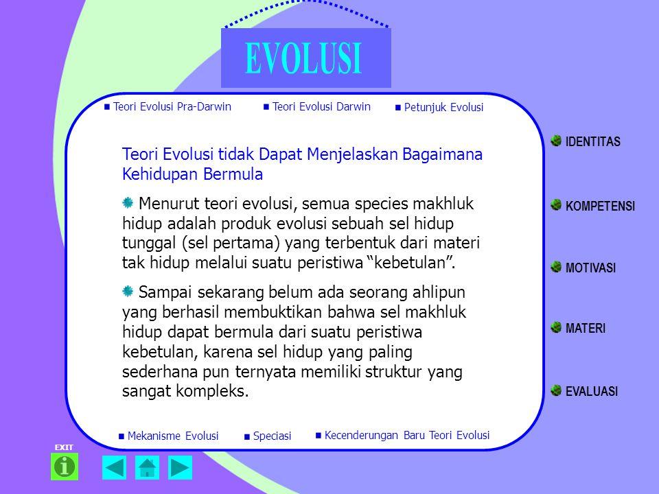 EXIT Teori Evolusi tidak Dapat Menjelaskan Bagaimana Kehidupan Bermula Menurut teori evolusi, semua species makhluk hidup adalah produk evolusi sebuah
