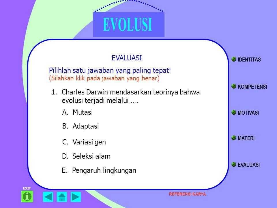 EXIT EVALUASI Pilihlah satu jawaban yang paling tepat! (Silahkan klik pada jawaban yang benar) 1.Charles Darwin mendasarkan teorinya bahwa evolusi ter