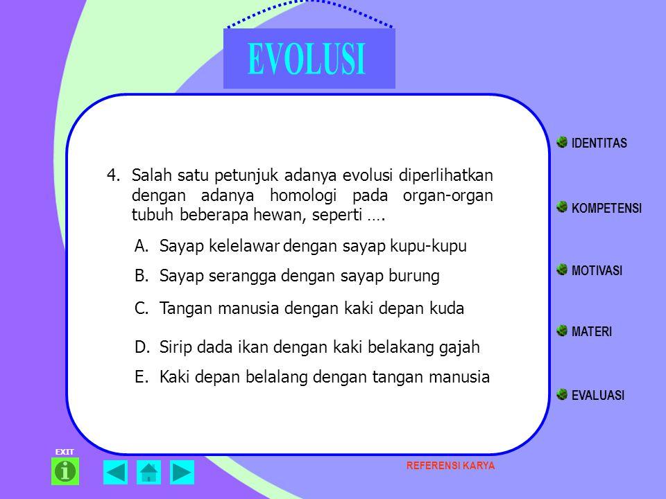 EXIT 4.Salah satu petunjuk adanya evolusi diperlihatkan dengan adanya homologi pada organ-organ tubuh beberapa hewan, seperti …. A.Sayap kelelawar den