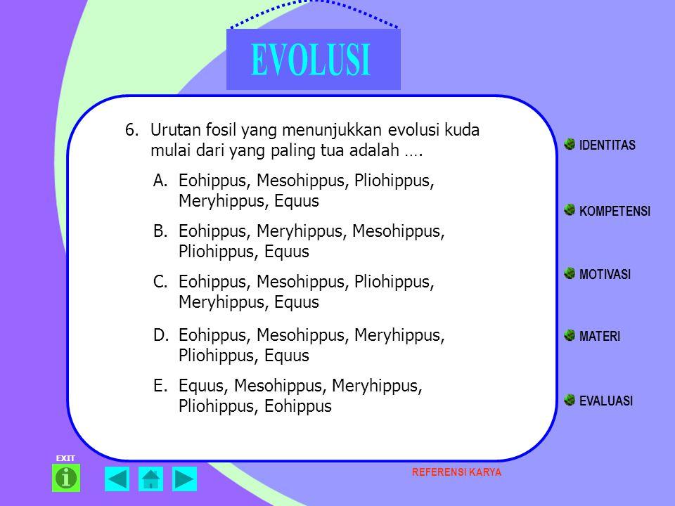 EXIT 6.Urutan fosil yang menunjukkan evolusi kuda mulai dari yang paling tua adalah …. KOMPETENSI MATERI EVALUASI IDENTITAS MOTIVASI A.Eohippus, Mesoh
