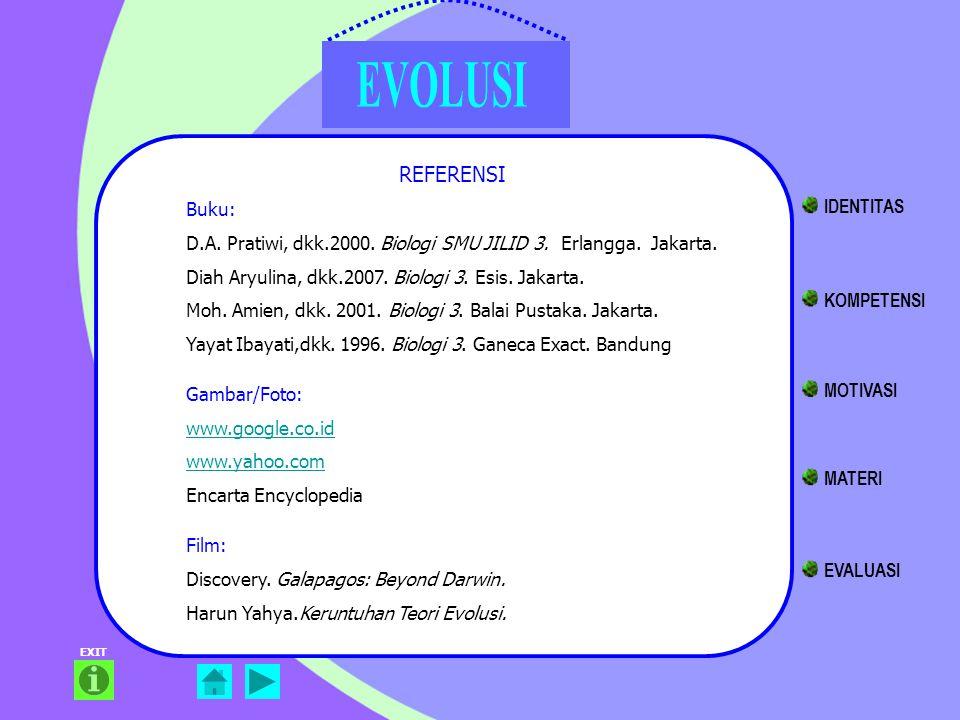 EXIT REFERENSI Buku: D.A. Pratiwi, dkk.2000. Biologi SMU JILID 3. Erlangga. Jakarta. Diah Aryulina, dkk.2007. Biologi 3. Esis. Jakarta. Moh. Amien, dk
