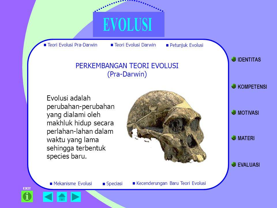 Teori Evolusi Pra-Darwin Teori Evolusi Darwin Petunjuk Evolusi Mekanisme Evolusi Kecenderungan Baru Teori Evolusi EXIT Speciasi Evolusi adalah perubah