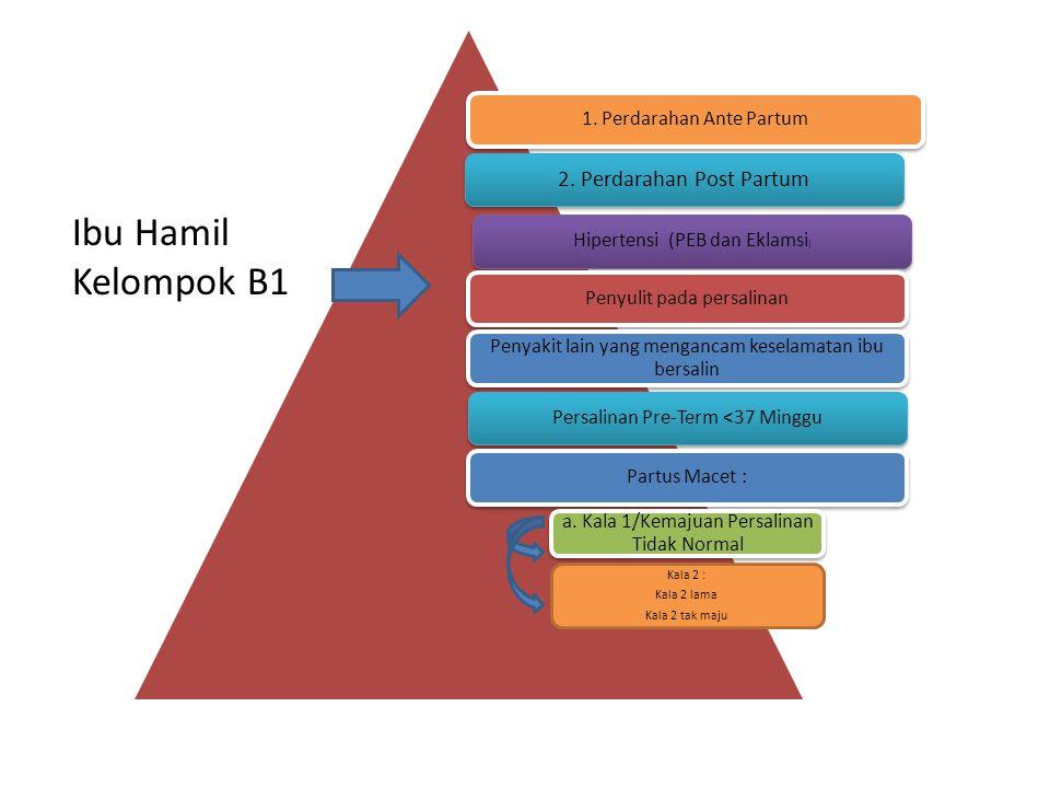 1. Perdarahan Ante Partum 2. Perdarahan Post Partum Hipertensi (PEB dan Eklamsi ) Penyulit pada persalinan Penyakit lain yang mengancam keselamatan ib