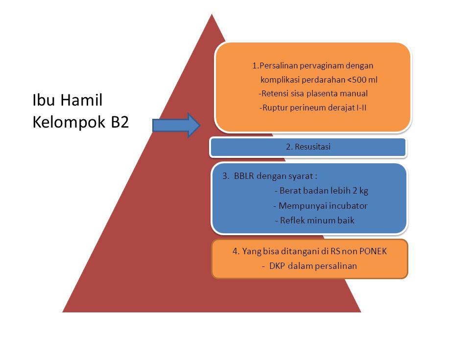 1.Persalinan pervaginam dengan komplikasi perdarahan <500 ml -Retensi sisa plasenta manual -Ruptur perineum derajat I-II 2. Resusitasi 3. BBLR dengan