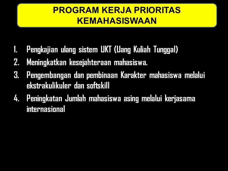 1.Pengkajian ulang sistem UKT (Uang Kuliah Tunggal) 2.Meningkatkan kesejahteraan mahasiswa. 3.Pengembangan dan pembinaan Karakter mahasiswa melalui ek
