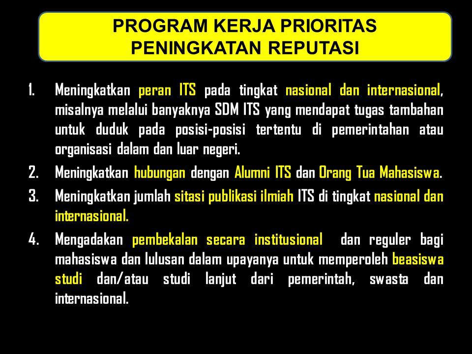 1.Meningkatkan peran ITS pada tingkat nasional dan internasional, misalnya melalui banyaknya SDM ITS yang mendapat tugas tambahan untuk duduk pada posisi-posisi tertentu di pemerintahan atau organisasi dalam dan luar negeri.