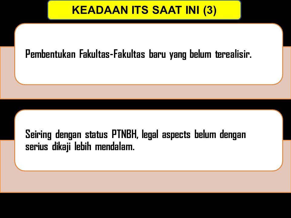 KEADAAN ITS SAAT INI (3) Pembentukan Fakultas-Fakultas baru yang belum terealisir. Seiring dengan status PTNBH, legal aspects belum dengan serius dika