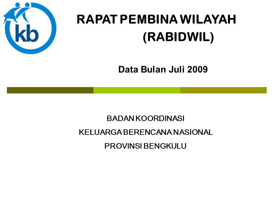 RAPAT PEMBINA WILAYAH (RABIDWIL) BADAN KOORDINASI KELUARGA BERENCANA NASIONAL PROVINSI BENGKULU Data Bulan Juli 2009
