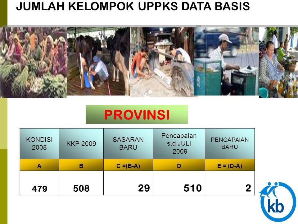 JUMLAH KELOMPOK UPPKS DATA BASIS PROVINSI KONDISI 2008 KKP 2009 SASARAN BARU Pencapaian s.d JULI 2009 PENCAPAIAN BARU ABC =(B-A)DE = (D-A) 479 508 295