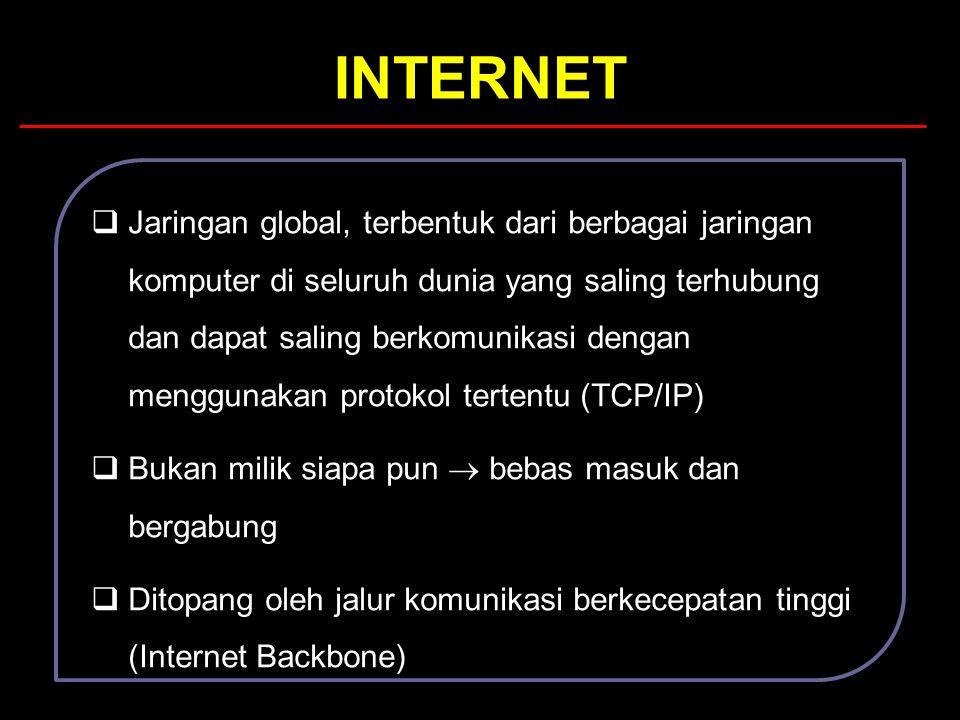 INTERNET  Jaringan global, terbentuk dari berbagai jaringan komputer di seluruh dunia yang saling terhubung dan dapat saling berkomunikasi dengan men