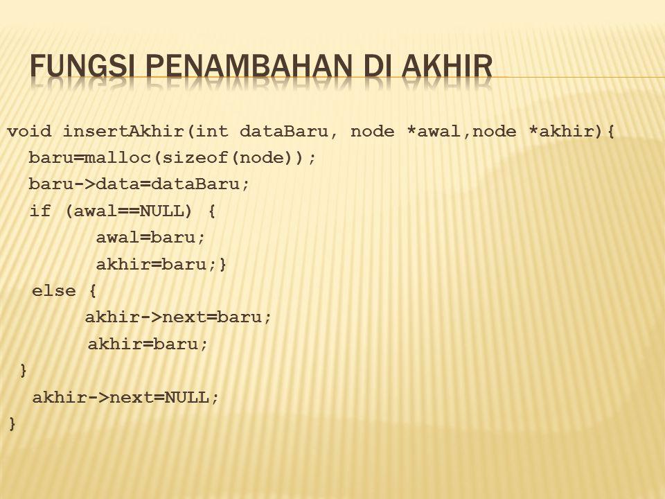 void insertAkhir(int dataBaru, node *awal,node *akhir){ baru=malloc(sizeof(node)); baru->data=dataBaru; if (awal==NULL) { awal=baru; akhir=baru;} else