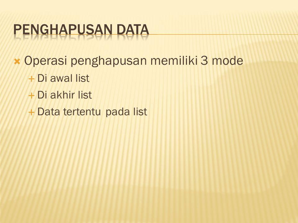  Operasi penghapusan memiliki 3 mode  Di awal list  Di akhir list  Data tertentu pada list