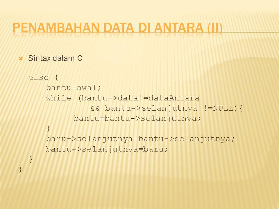  Sintax dalam C else { bantu=awal; while (bantu->data!=dataAntara && bantu->selanjutnya !=NULL){ bantu=bantu->selanjutnya; } baru->selanjutnya=bantu-