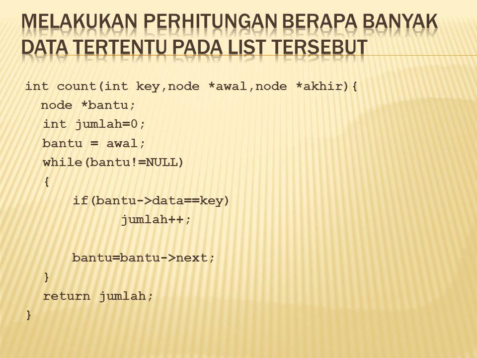 int count(int key,node *awal,node *akhir){ node *bantu; int jumlah=0; bantu = awal; while(bantu!=NULL) { if(bantu->data==key) jumlah++; bantu=bantu->n
