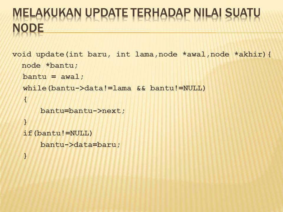 void update(int baru, int lama,node *awal,node *akhir){ node *bantu; bantu = awal; while(bantu->data!=lama && bantu!=NULL) { bantu=bantu->next; } if(b