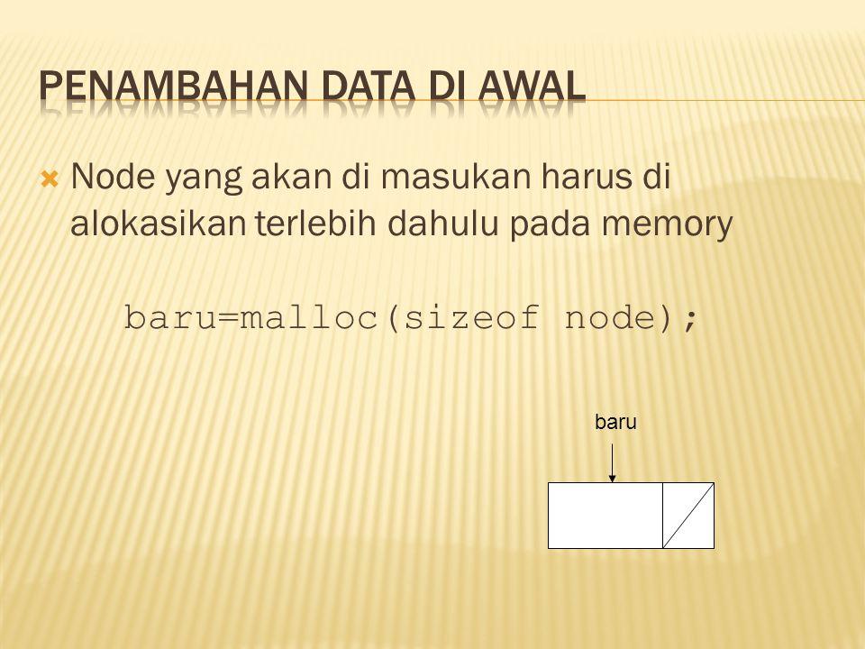  Node yang akan di masukan harus di alokasikan terlebih dahulu pada memory baru=malloc(sizeof node); baru