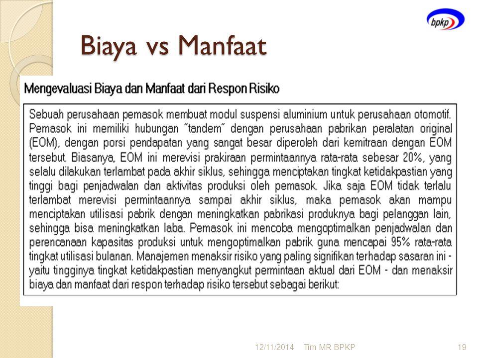 Biaya vs Manfaat 12/11/2014Tim MR BPKP19