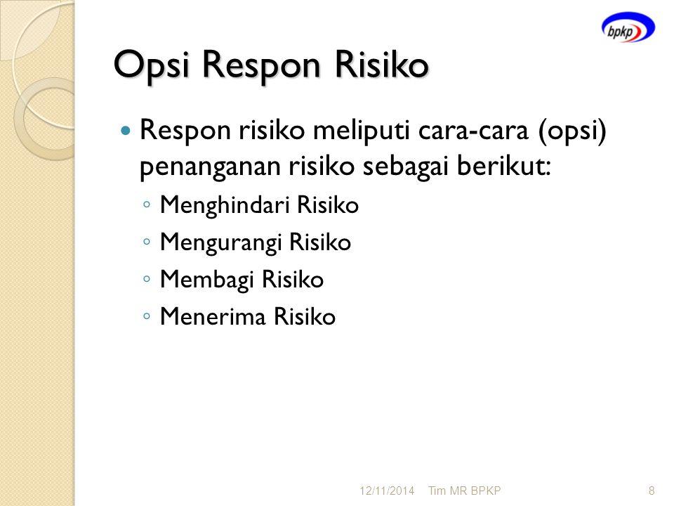 Opsi Respon Risiko Respon risiko meliputi cara-cara (opsi) penanganan risiko sebagai berikut: ◦ Menghindari Risiko ◦ Mengurangi Risiko ◦ Membagi Risik