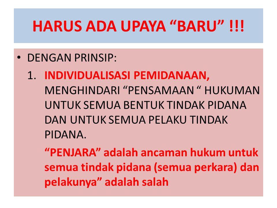 "HARUS ADA UPAYA ""BARU"" !!! DENGAN PRINSIP: 1. INDIVIDUALISASI PEMIDANAAN, MENGHINDARI ""PENSAMAAN "" HUKUMAN UNTUK SEMUA BENTUK TINDAK PIDANA DAN UNTUK"
