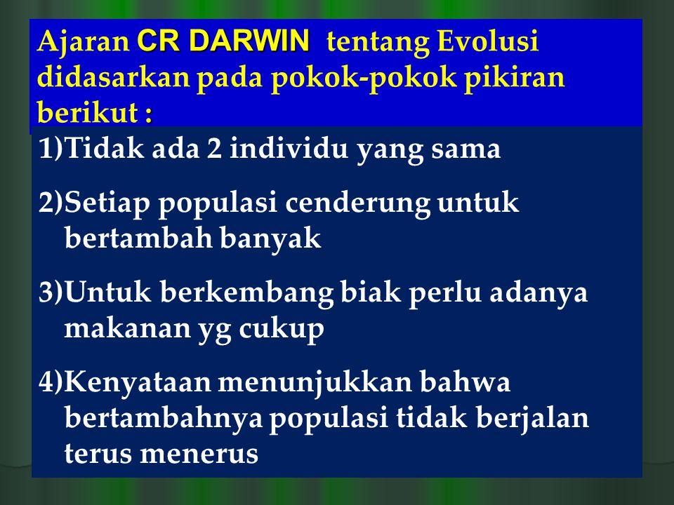 CR DARWIN : Ajaran CR DARWIN tentang Evolusi didasarkan pada pokok-pokok pikiran berikut : 1)Tidak ada 2 individu yang sama 2)Setiap populasi cenderun