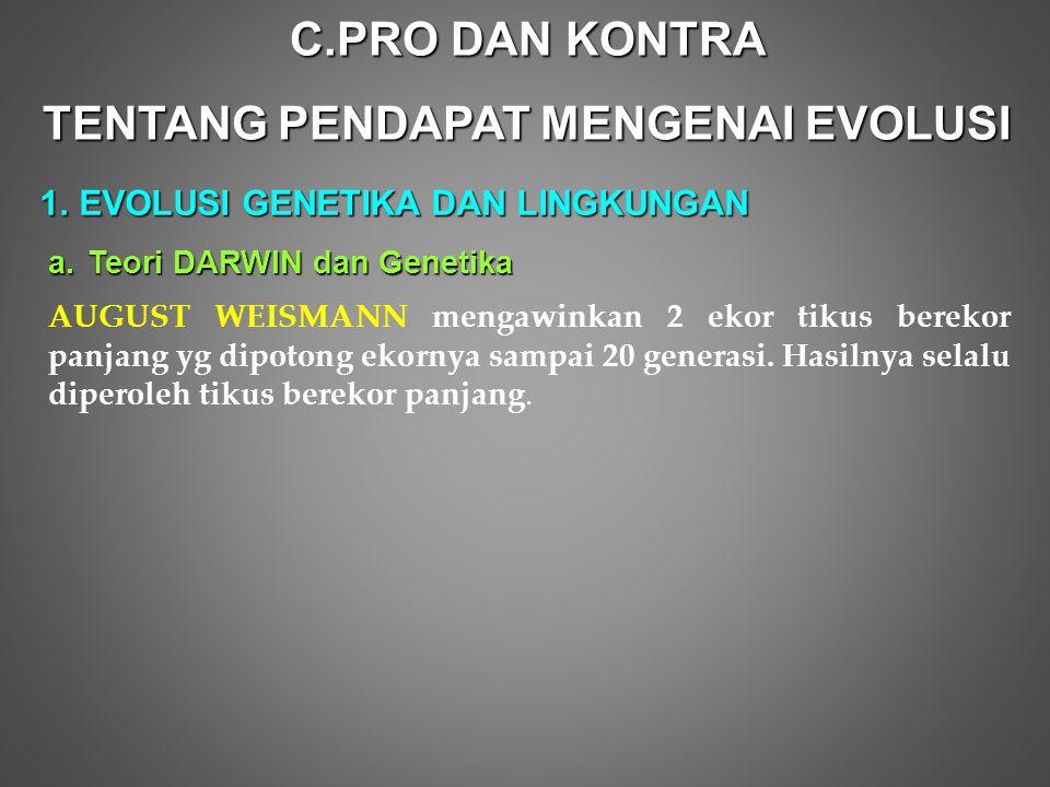 C.P RO DAN KONTRA TENTANG PENDAPAT MENGENAI EVOLUSI 1.E VOLUSI GENETIKA DAN LINGKUNGAN a.Teori DARWIN dan Genetika AUGUST WEISMANN mengawinkan 2 ekor