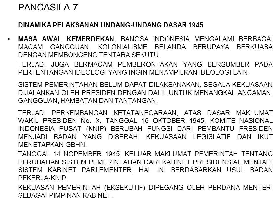 PANCASILA 7 DINAMIKA PELAKSANAN UNDANG-UNDANG DASAR 1945 MASA AWAL KEMERDEKAN, BANGSA INDONESIA MENGALAMI BERBAGAI MACAM GANGGUAN. KOLONIALISME BELAND