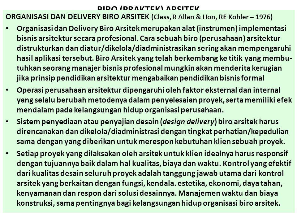 BIRO (PRAKTEK) ARSITEK ORGANISASI DAN DELIVERY BIRO ARSITEK (Class, R Allan & Hon, RE Kohler – 1976) Organisasi dan Delivery Biro Arsitek merupakan al