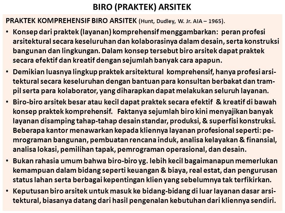 BIRO (PRAKTEK) ARSITEK PRAKTEK KOMPREHENSIF BIRO ARSITEK (Hunt, Dudley, W. Jr. AIA – 1965). Konsep dari praktek (layanan) komprehensif menggambarkan: