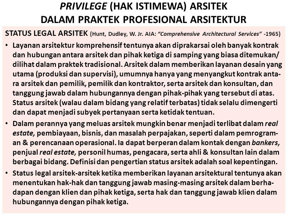 "PRIVILEGE (HAK ISTIMEWA) ARSITEK DALAM PRAKTEK PROFESIONAL ARSITEKTUR STATUS LEGAL ARSITEK (Hunt, Dudley, W. Jr. AIA: ""Comprehensive Architectural Ser"