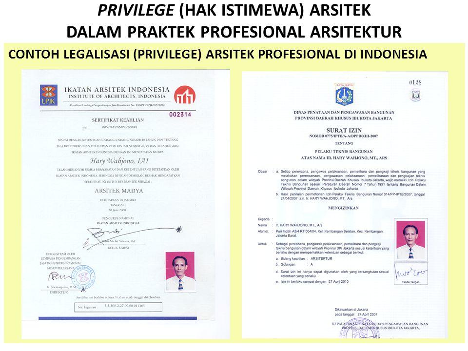 PRIVILEGE (HAK ISTIMEWA) ARSITEK DALAM PRAKTEK PROFESIONAL ARSITEKTUR HAK DAN WEWENANG ARSITEK (IAI-2007) 1.Mendapatkan imbalan jasa atas layanan jasa profesional yang telah dikerjakan sesuai dengan ketentuan, termasuk jasa tambahan bila pengguna jasa melaku- kan penambahan tugas atau permintaan perubahan rancangan.