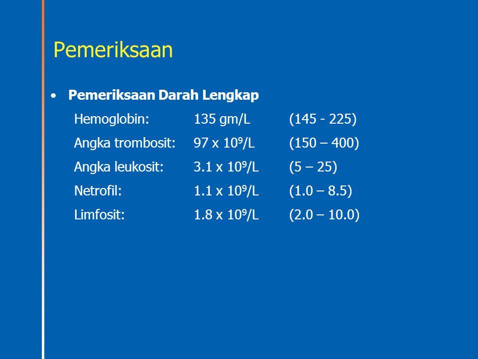 Pemeriksaan Pemeriksaan Darah Lengkap Hemoglobin: 135 gm/L(145 - 225) Angka trombosit:97 x 10 9 /L(150 – 400) Angka leukosit:3.1 x 10 9 /L(5 – 25) Net