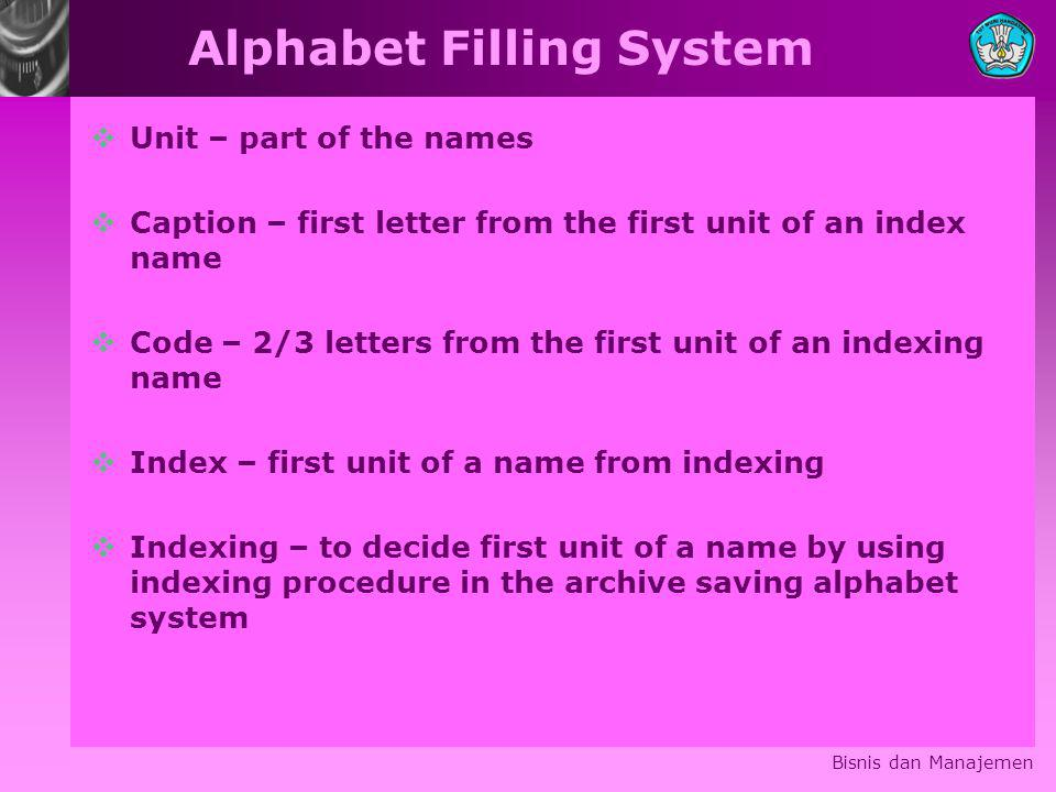 Alphabet Filling System  Unit – part of the names  Caption – first letter from the first unit of an index name  Code – 2/3 letters from the first unit of an indexing name  Index – first unit of a name from indexing  Indexing – to decide first unit of a name by using indexing procedure in the archive saving alphabet system Bisnis dan Manajemen