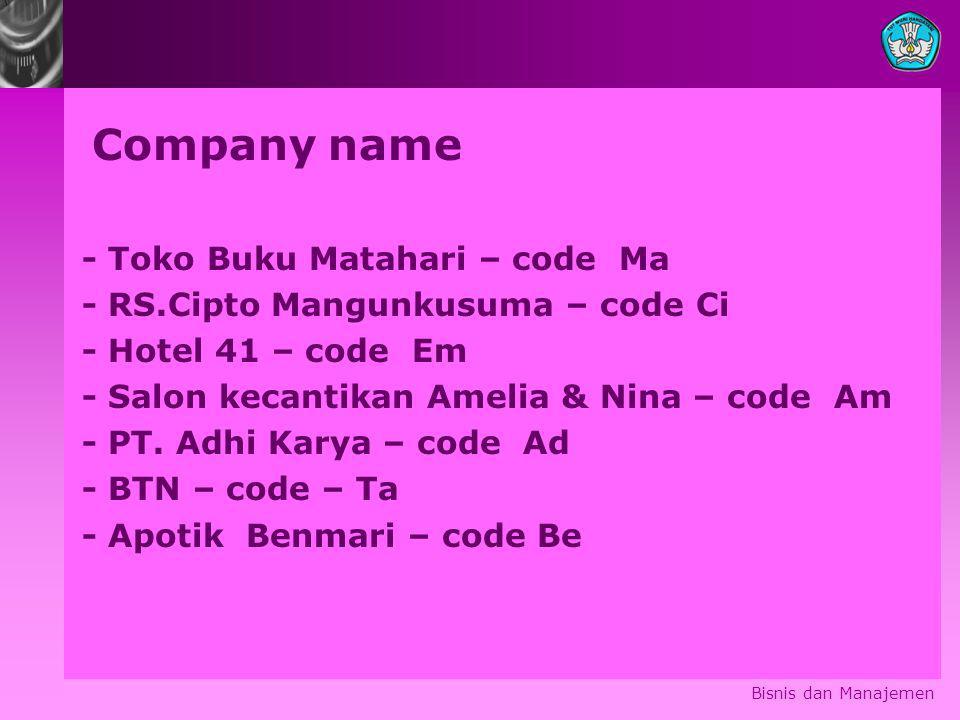 Company name - Toko Buku Matahari – code Ma - RS.Cipto Mangunkusuma – code Ci - Hotel 41 – code Em - Salon kecantikan Amelia & Nina – code Am - PT. Ad