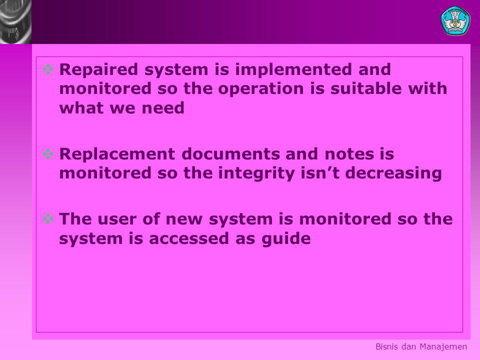 Bisnis dan Manajemen  Repaired system is implemented and monitored so the operation is suitable with what we need  Replacement documents and notes is monitored so the integrity isn't decreasing  The user of new system is monitored so the system is accessed as guide