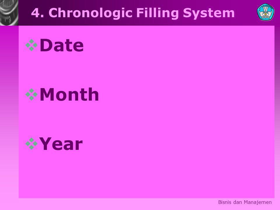 4. Chronologic Filling System  Date  Month  Year Bisnis dan Manajemen