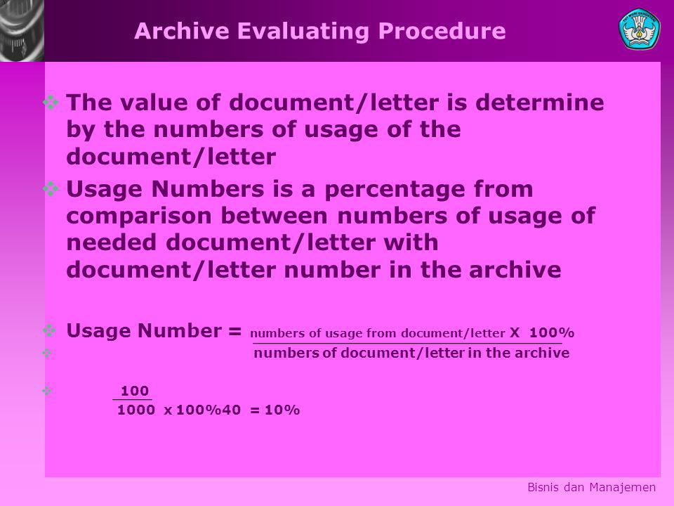 Archive Evaluating Procedure  The value of document/letter is determine by the numbers of usage of the document/letter  Usage Numbers is a percentag