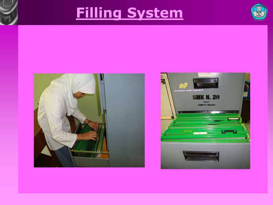 4.Folder is use as a document saving place and put on drawer filling cabinet 5.Perforator is use to making hole in a piece of paper 6.Guide is use as a border between 1 problem with another 7.Index Card is use as identification card of a letter / document 8.Sorting Shelf is use as a place for sorting the letters Bisnis dan Manajemen