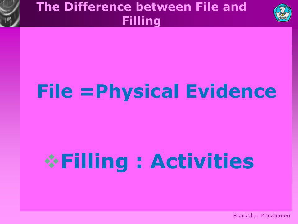 The Difference between File and Filling Bisnis dan Manajemen File =Physical Evidence  Filling : Activities