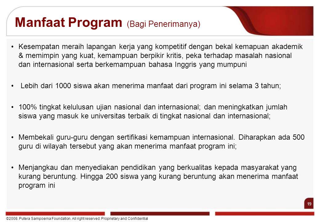 19 ©2008. Putera Sampoerna Foundation. All right reserved. Proprietary and Confidential Manfaat Program (Bagi Penerimanya) Kesempatan meraih lapangan