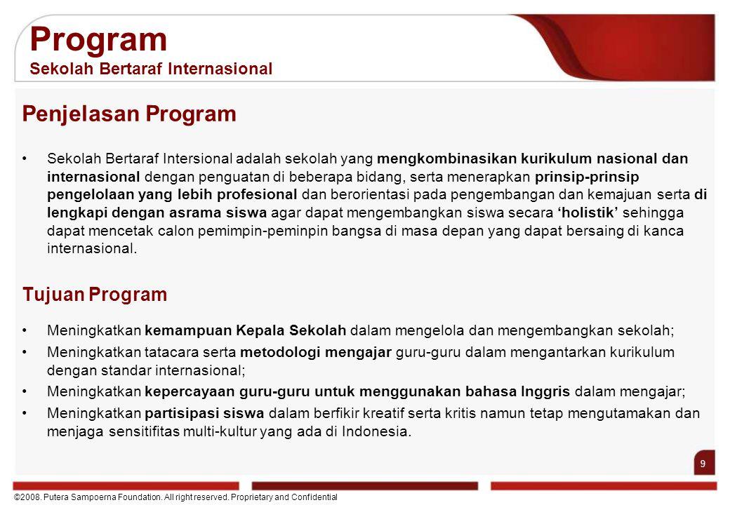 9 ©2008. Putera Sampoerna Foundation. All right reserved. Proprietary and Confidential Penjelasan Program Sekolah Bertaraf Intersional adalah sekolah
