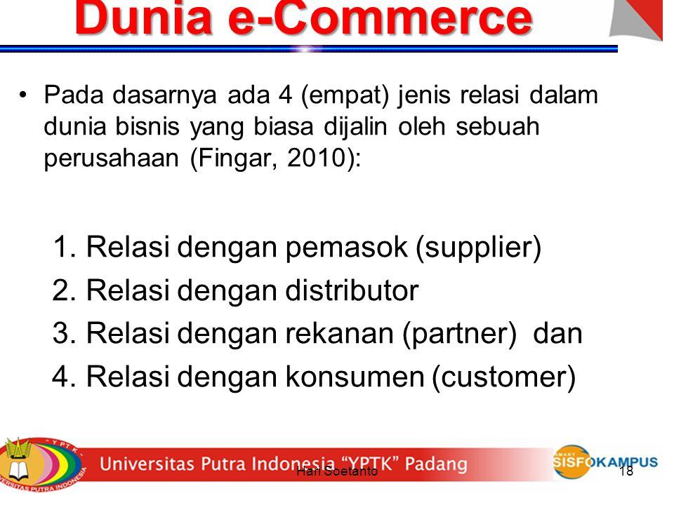 Hari Soetanto18 Dunia e-Commerce Pada dasarnya ada 4 (empat) jenis relasi dalam dunia bisnis yang biasa dijalin oleh sebuah perusahaan (Fingar, 2010):