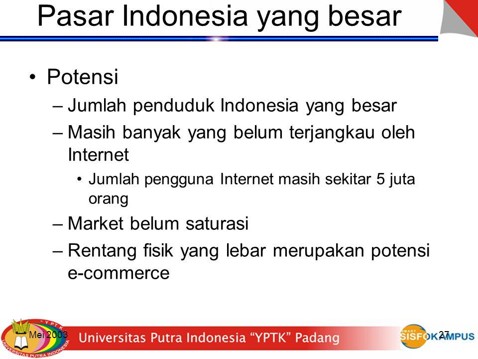 Mei 200327 Pasar Indonesia yang besar Potensi –Jumlah penduduk Indonesia yang besar –Masih banyak yang belum terjangkau oleh Internet Jumlah pengguna